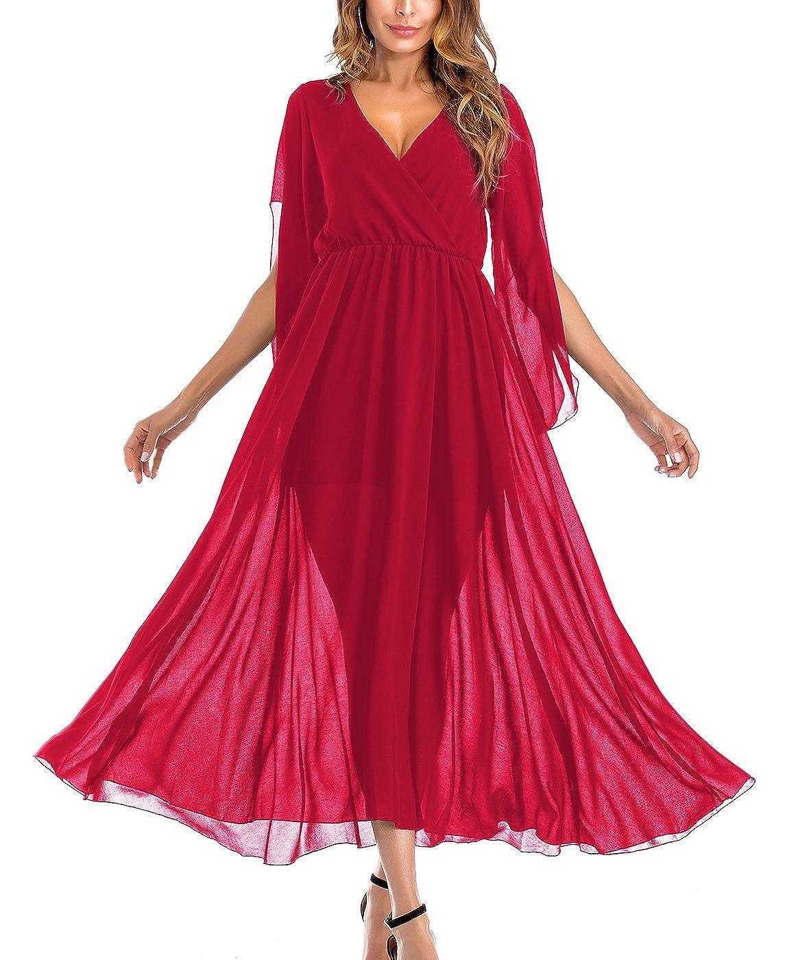 FEOYA Vestido de Gasa Largo para Mujeres Elegante en Forma V ...