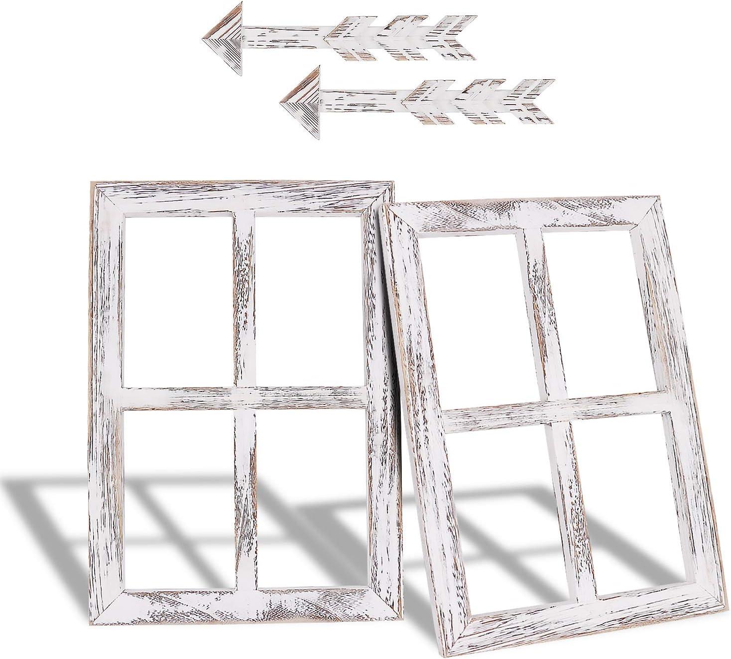 Honest Farmhouse Wall Décor Window Frame,Rustic Window Pane with Arrows Decor,Home Decor Window Barnwood Frames,Window Rustic Wall Art for Entryways, Living Room, Dining Room, Bedroom, 2 Set(Small)