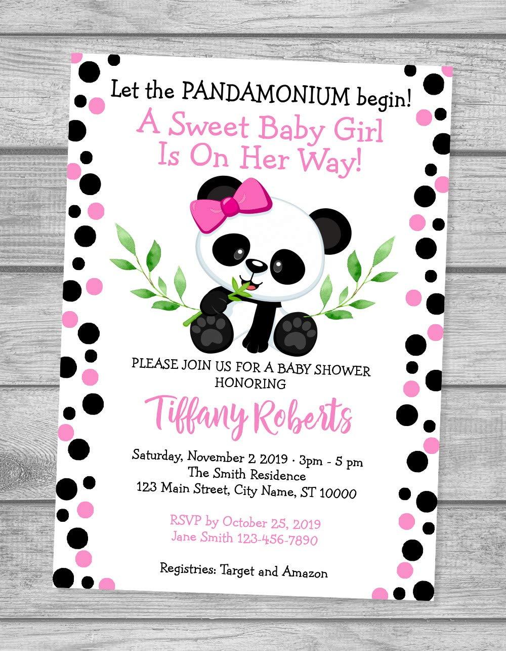 Girl Panda Bear Baby Shower Digital Printable Panda Bear Invite Its a Girl Panda Bear Invite. Panda Bear Girl BABY SHOWER Invitation