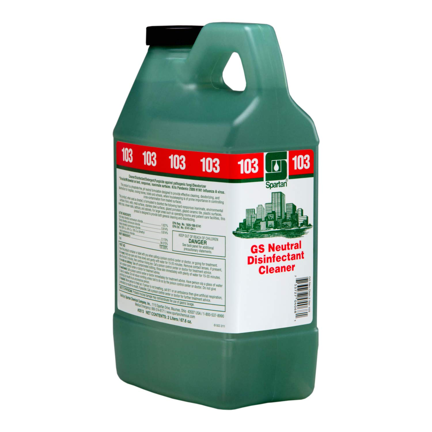 Spartan Clean on the Go Green Solutions 103 Neutral Disinfectant Cleaner, 2 Liter Bottle, 4 Bottles Per Case by SPARTAN