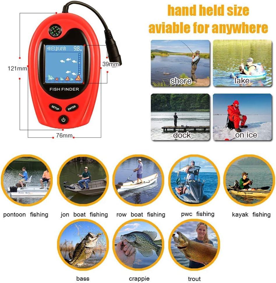 LUCKY Fish Finder Portatile per Kayak Ecoscandaglio Portatile Rilevatore di Pesce Ecoscandaglio Fishfinder Ghiaccio Barca da Pesca Regali di Pesca per Uomini Donne