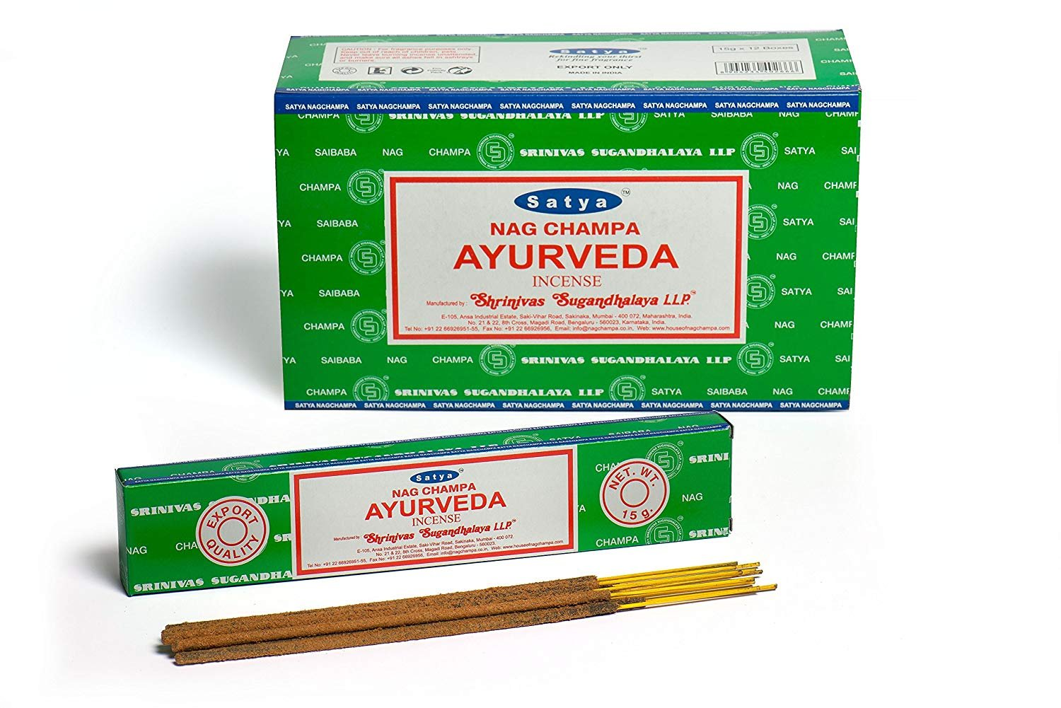 Chi-City Mall Satya Nag Champa Ayurveda Incense Sticks | Signature Fragrance | Net Wt: 15g x 12 boxes = 180g | Exclusively Made in India | Export Quality | Handrolled Non-Toxic Incense