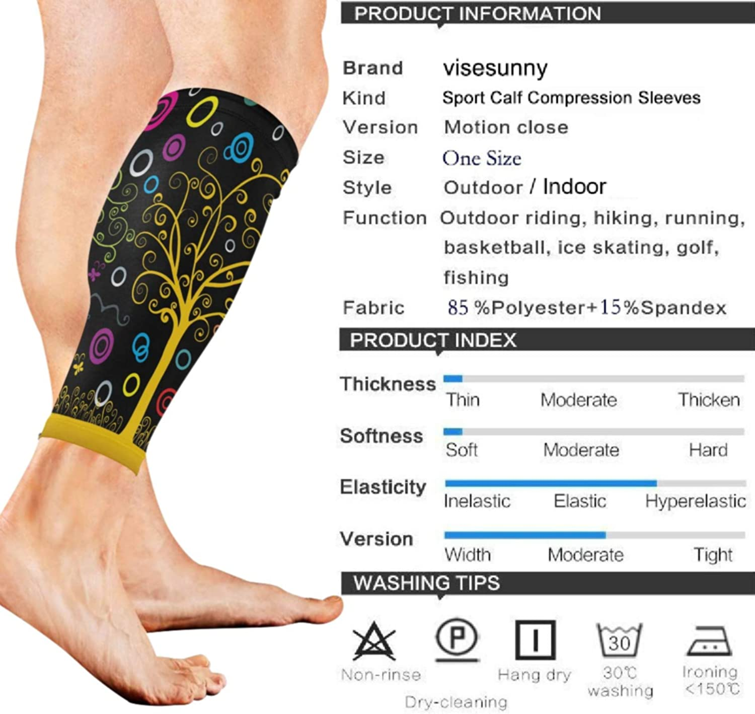 visesunny Colorful Dream Landscape Raster Sports Calf Support Sleeves for Muscle Pain Relief, Improved Circulation Compression Effective Support for Running,Workout,Recovery(1 Pair)
