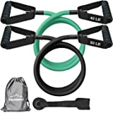 PACEARTH Resistance Bands Set with Upgraded Door Anchor 59 inches Longer Exercise Bands with Handles and Waterproof Carry Bag Training Tubes for Resistance Training, Physical Therapy, Home Workouts