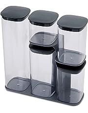 Joseph Joseph Podium 5-Piece Storage jar Set with Stand, Grey, 33.3 x 31.5 x 10.9 cm