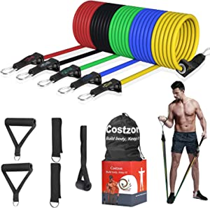 Costzon Resistance Bands Set 11 Pack, Exercise Bands Fitness Workout Equipment Stackable Weights 150 Lb Training Tubes with Large Handles Ankle Straps Door Anchor Carry Bag, Physical Therapy Home Gym