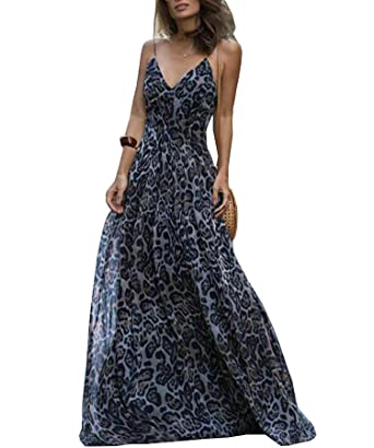 e72b85ee0501 Ru Sweet Women's Spaghetti Strap Leopard Print Deep V Neck Boho Maxi Long  Flowy Dress at Amazon Women's Clothing store: