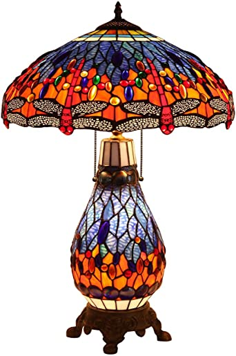 Bieye L30545 18 inches Dragonfly Tiffany Style Stained Glass Table Lamp with Lighted Base, 26 inch Tall…