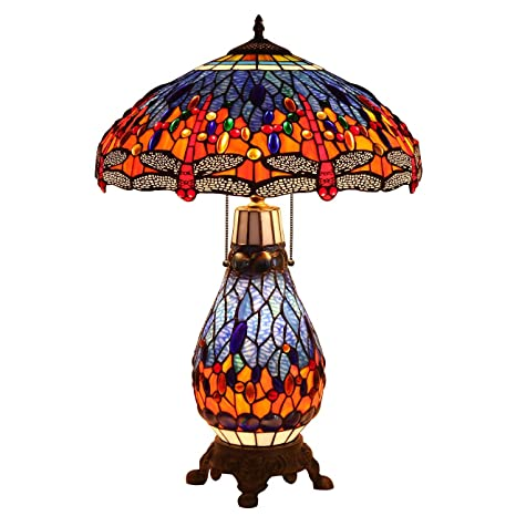 Bieye L10545 18 Inches Dragonfly Tiffany Style Stained Glass Table