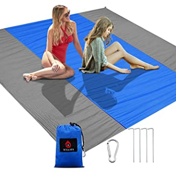 IFELISS Sandfree Outdoor Beach Blanket -Sand Proof Picnic Mat Quick Drying Heat Resistant Nylon Waterproof Ground Cover for Travel,Camping,Hiking,Festivals