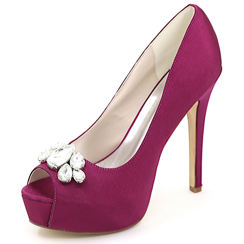 Elobaby Zapatos De Boda De Las Mujeres Talones Bombas Blancas Peep Toe Rhinestone/Vestido/35-41 TamañO/12.5Heel 41 EU|Purple