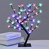 Excelvan Cherry Blossom Desk Top Bonsai Tree Light, Decorative Warm White Light, Black Branches, Perfect for Home Festival Party Wedding Christmas Indoor Outdoor Decoration, Multi-colored