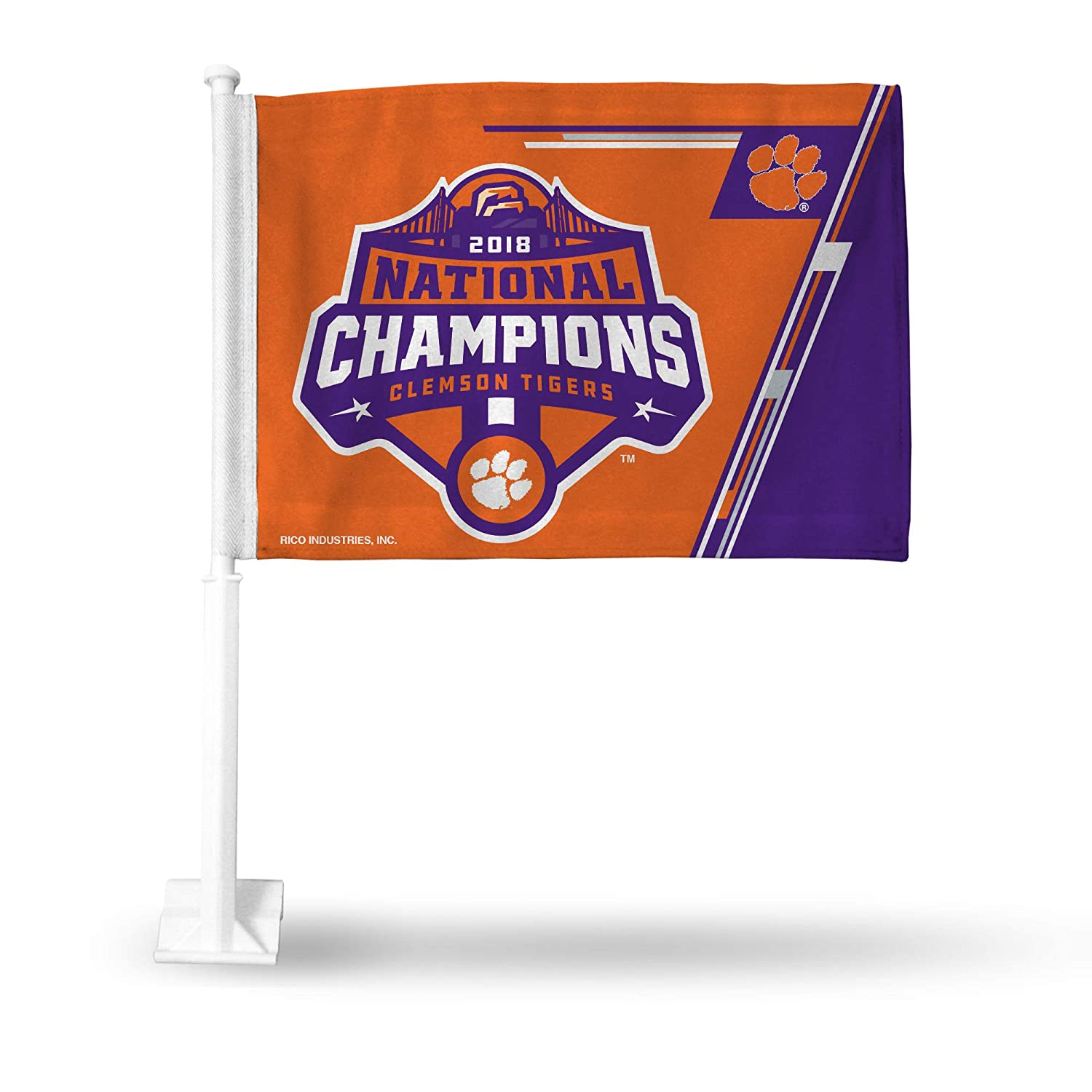 with White Pole Rico Industries NCAA Clemson Tigers 2018 National Champions Car Flag