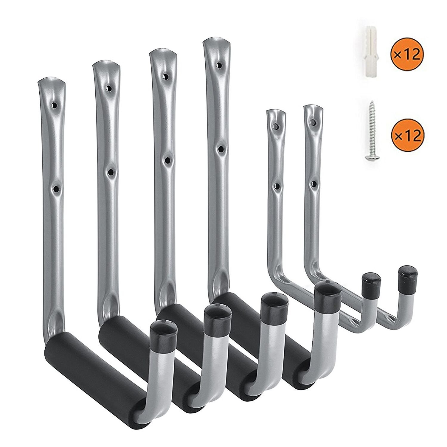Heavy Duty Garage Storage Utility Hooks with Jumbo Arm, Wall Mount Garage Hanger & Organizer for Ladder Tool Chair Hose(6 Pack - Gray) Ihometech