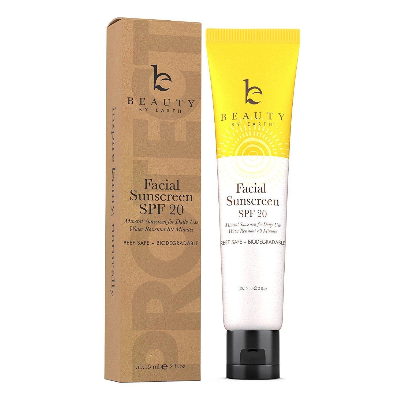 Facial Sunscreen - Soin Solaire pour le Visage; Crème Hydratante, Indice de Protection 20. Produit Biologique aux Ingrédients Naturels; Lait Solaire pour tous Types de Peau - Respectueux de l'environn Beauty By Earth