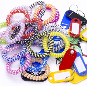 OKA Pack 5 Plastic Coil Wrist Wristlet Keychain Spring Flexible Spiral Wrist Coil Stretchable Wristband Spiral Keychain Bracelet Key Ring Chain for Gym Pool ID Badge and Outdoor Sports