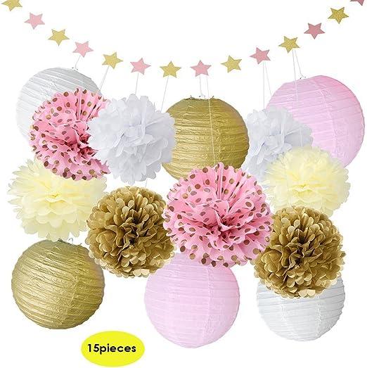 Sundlight Pom Pom flores bolas de tejido pelota pompón de papel ...