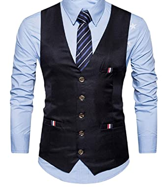031bb532f8a Comaba Men s Casual Regular Fit Office Wear Button Down Suit Vest at Amazon  Men s Clothing store