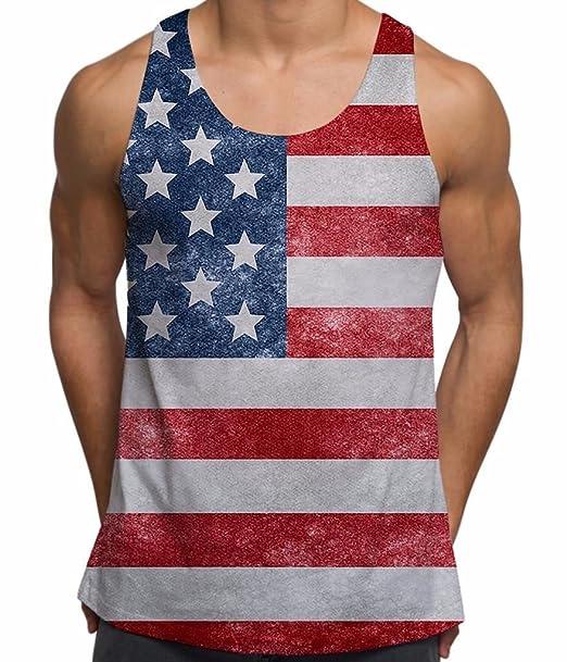Camiseta sin Mangas Tank Top Impresa para Hombres Bandera Americana USA Ropa para Vacaciones de Verano: Amazon.es: Ropa y accesorios
