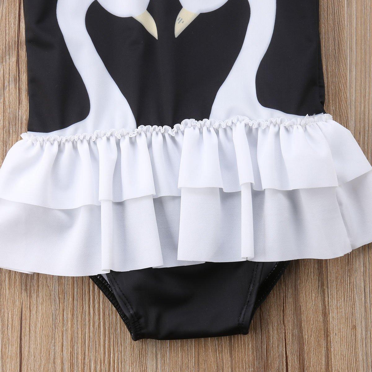 Toddler Baby Girl Swan Print Ruffle Hem Swimsuit One Piece Bathing Suit Beachwear