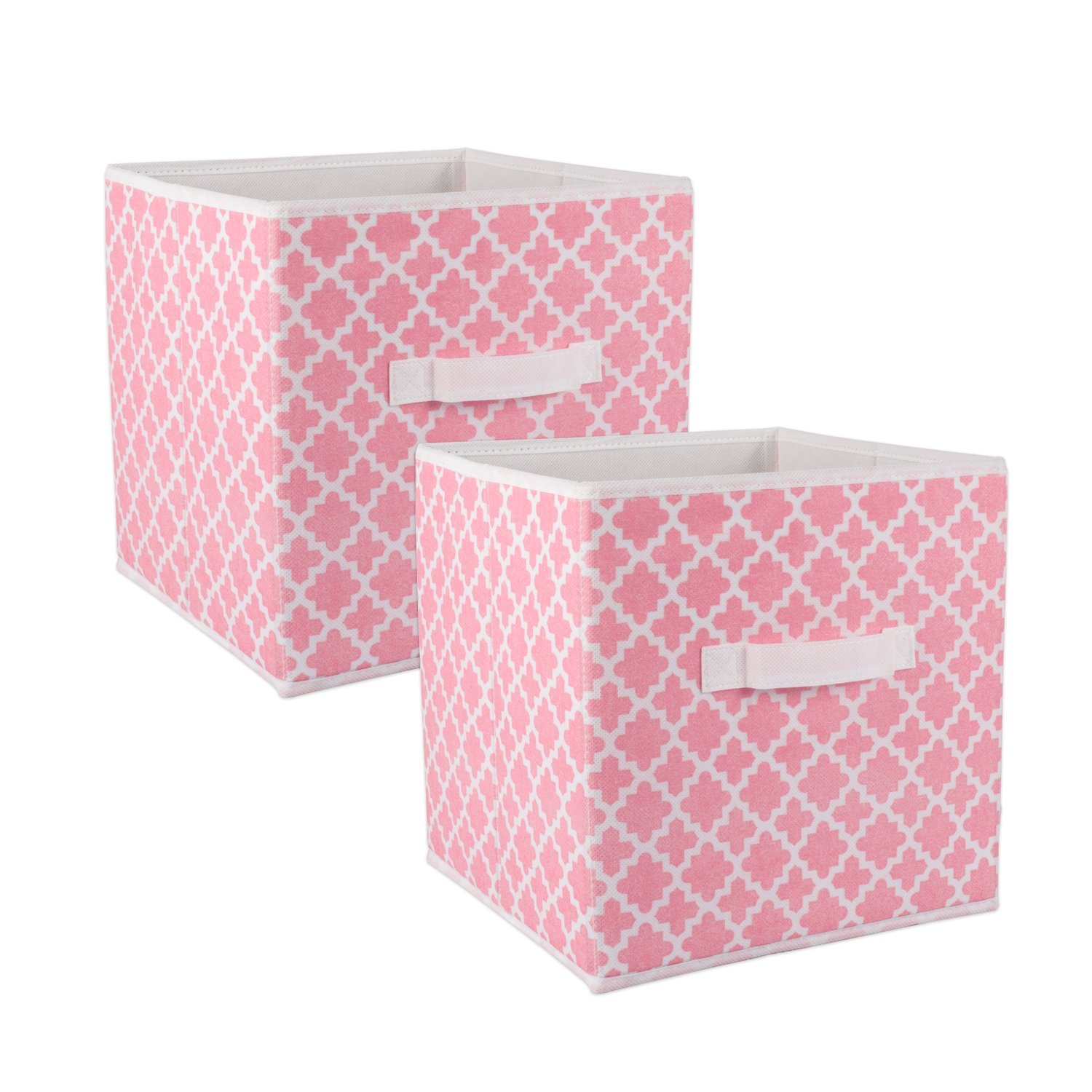 DII Fabric Storage Bins for Nursery, Offices, & Home Organization, Containers Are Made To Fit Standard Cube Organizers (11x11x11'') Lattice Pink Sorbet - Set of 2