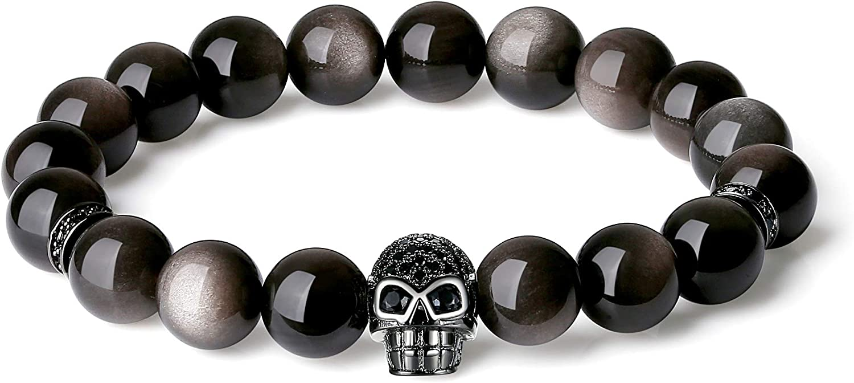 COAI Skull Silver Sheen Obsidian Stone Bracelet