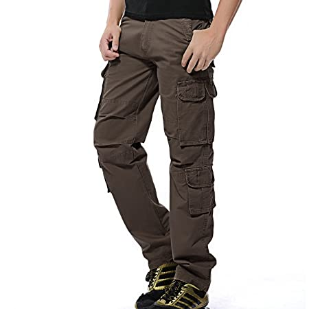 AYG Herren Cargo Hose Baumwolle Militär Hose Wandern Cargo Pants
