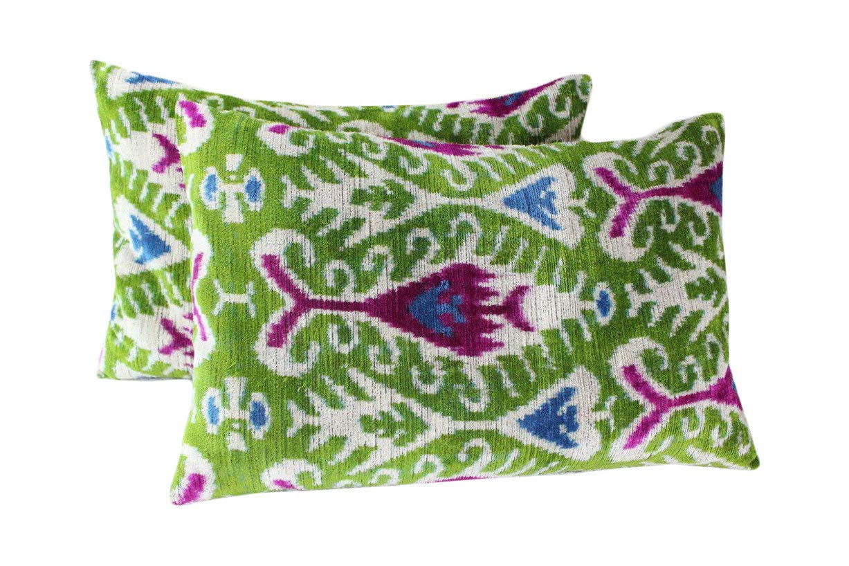 Black Fig Designs シルク ベルベット イカット 枕カバー VP67 ボヘミアン 枕 ベルベット 枕カバー イカット 枕 スロー 枕 B07N6P3TDS