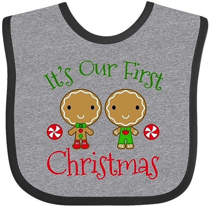 460a63d7c704 Amazon.com: Inktastic - Twins Boys 1st Christmas Baby Bib Heather and Black  20414: Clothing