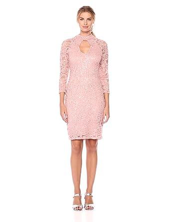 9c28898e00 Marina Women s Mock Neck Lace Dress at Amazon Women s Clothing store
