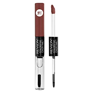 Revlon Colorstay Overtime Lipcolor, Longwearing Liquid Lipstick with Clear Lip Gloss, with Vitamin E, In Brown, 340 Eternally Tan, 0.8 Oz