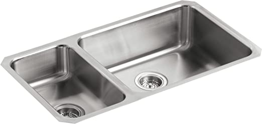 Kohler K 3352 L Na Undertone High Low Undercounter Kitchen Sink Stainless Steel
