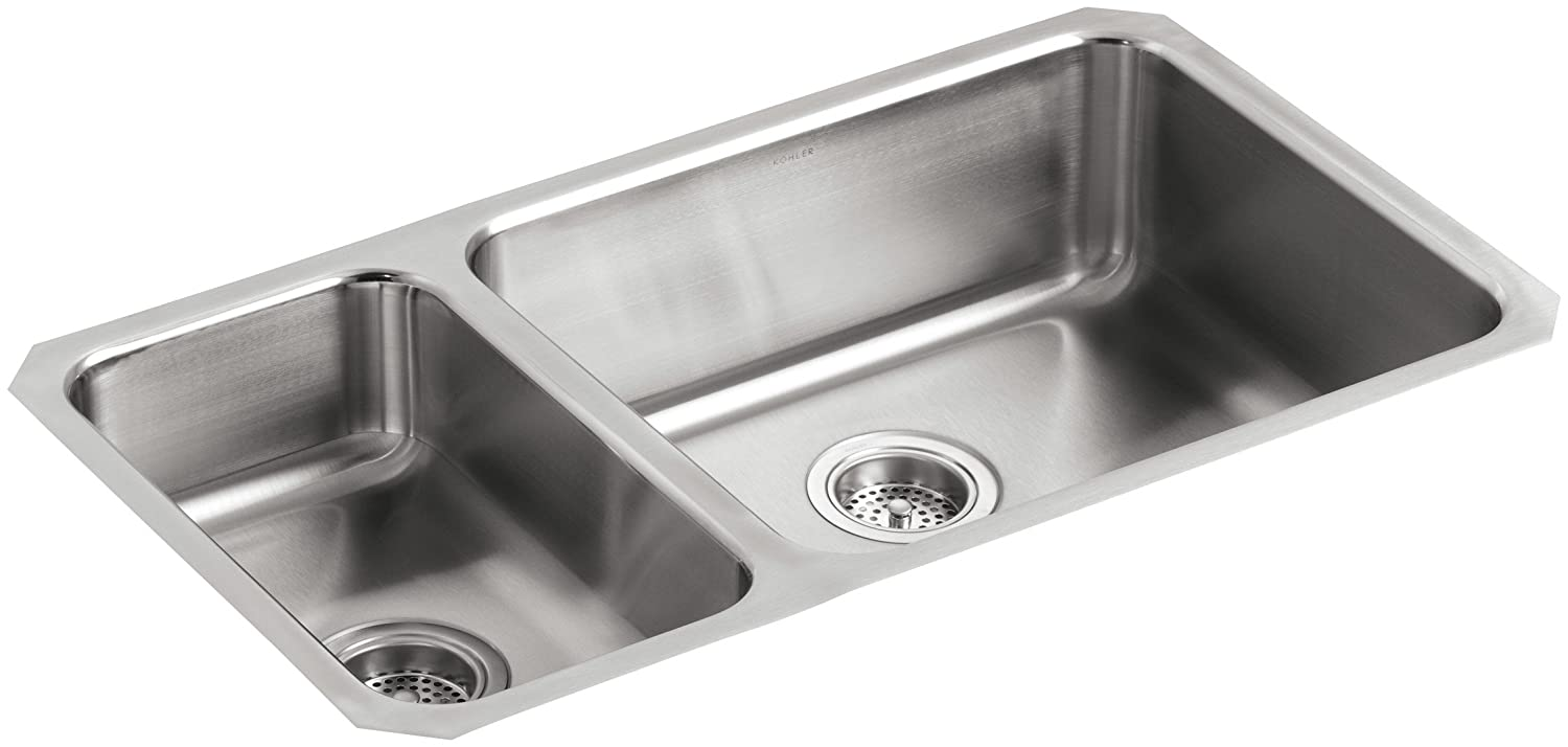 KOHLER K-3352-L-NA Undertone High/Low Undercounter Kitchen Sink, Stainless  Steel