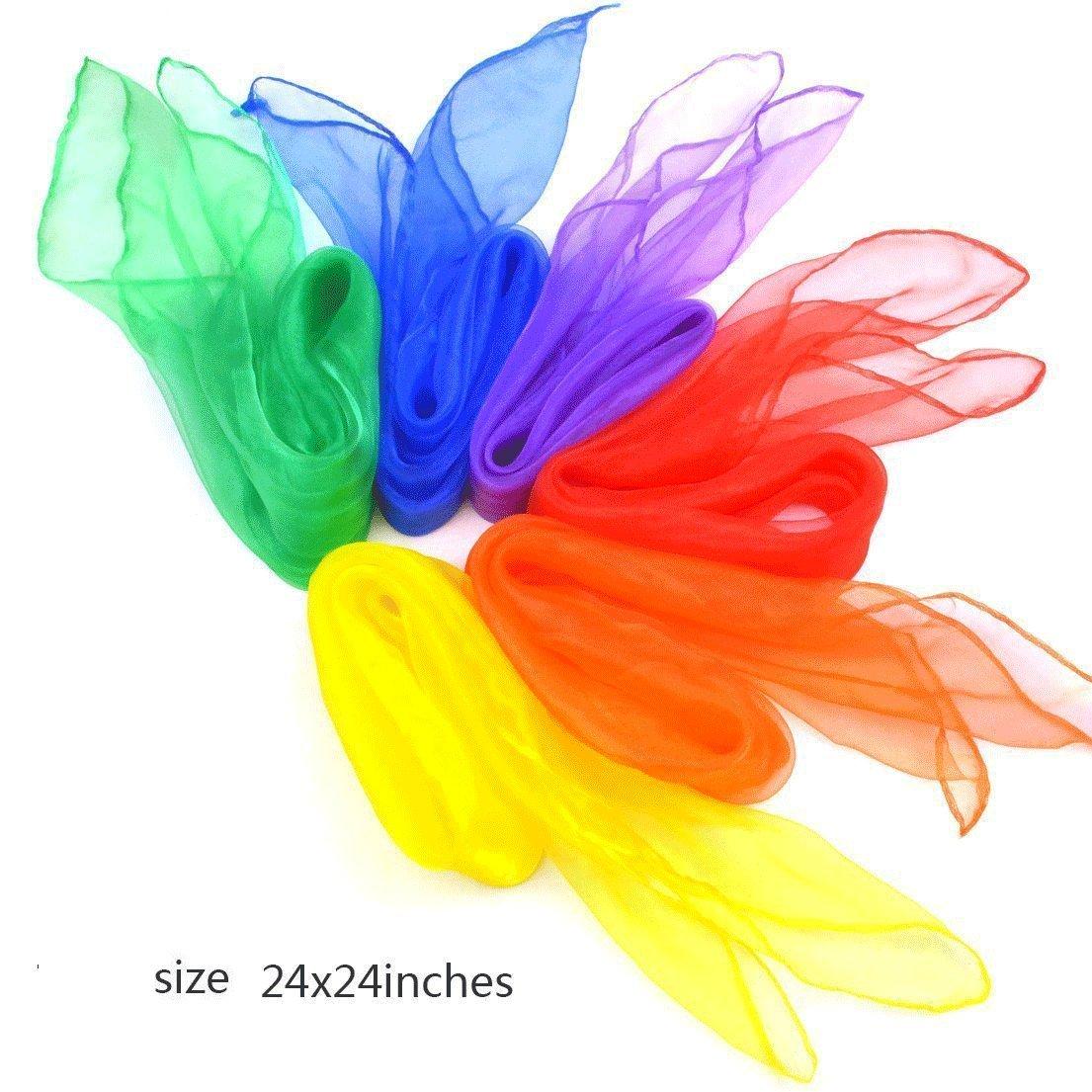 Simuer Jonglier T/ücher Tanz Performance Schals Square Jongliert/ücher Magische Tanzen Schal Kinder Spielen Sinnesspielzeug 12 St/ück