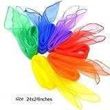 Simuer 12 Colors Rhythm Band Scarves Juggling Dance Scarves Square Movement Scarves Magic Tricks Performance Props Accessories 12pcs