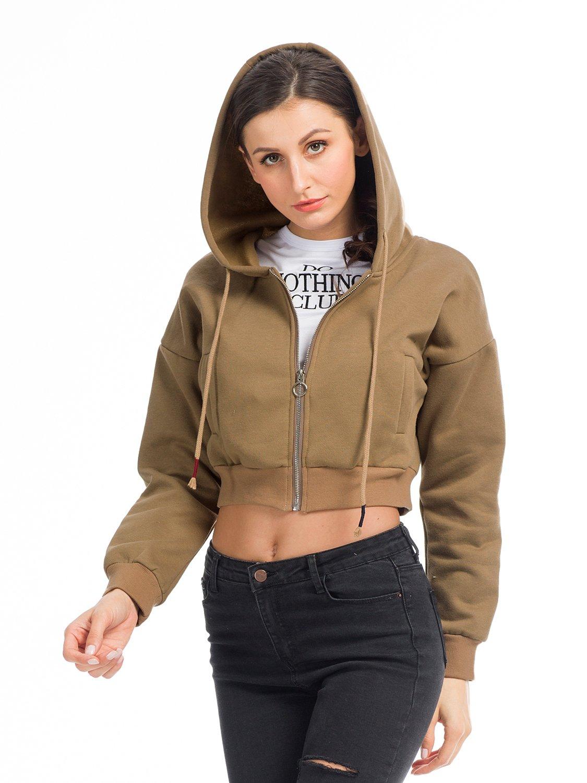 Clothink Women Cropped Sweatshirt Zipper Hoodie Hooded Top Coffee XL