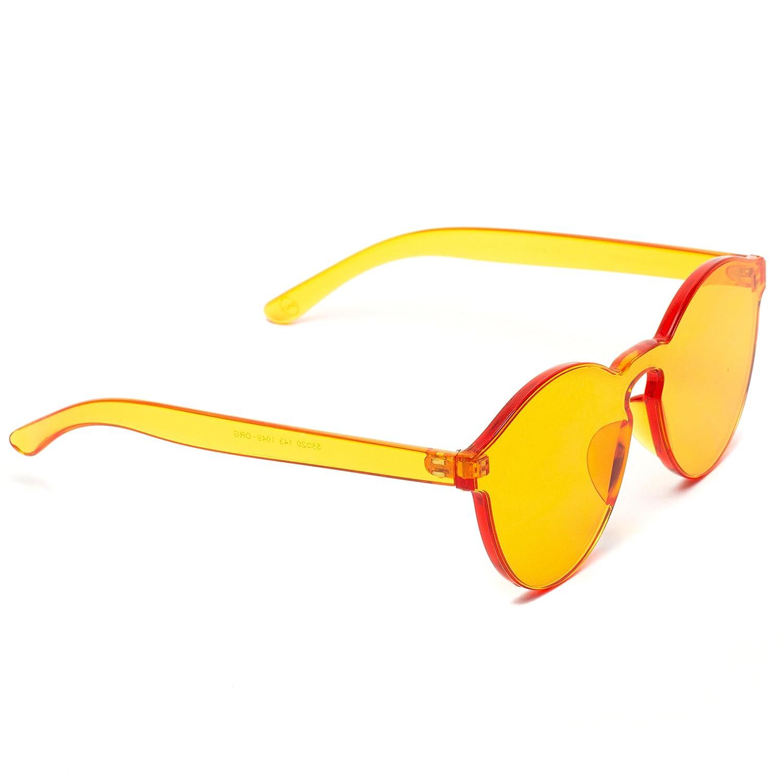 358681fae0 WearMe Pro - Colorful One Piece Transparent Round Super Retro Sunglasses