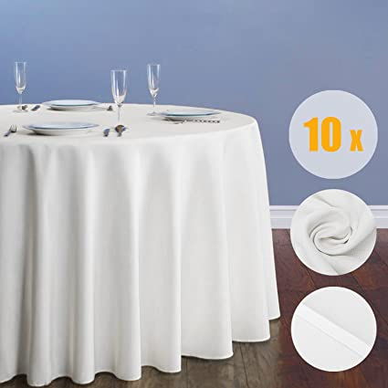 Youngbee Voilamart Round Tablecloth 90 Inch White Polyester Cloth