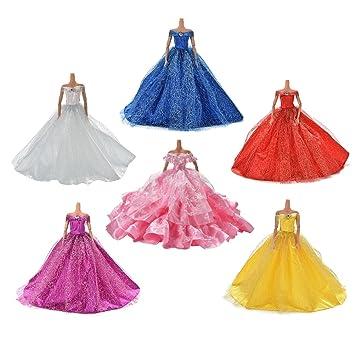 6 Stück/Satz Modische Prinzessinnen Kleider Kleidung Puppenkleid ...