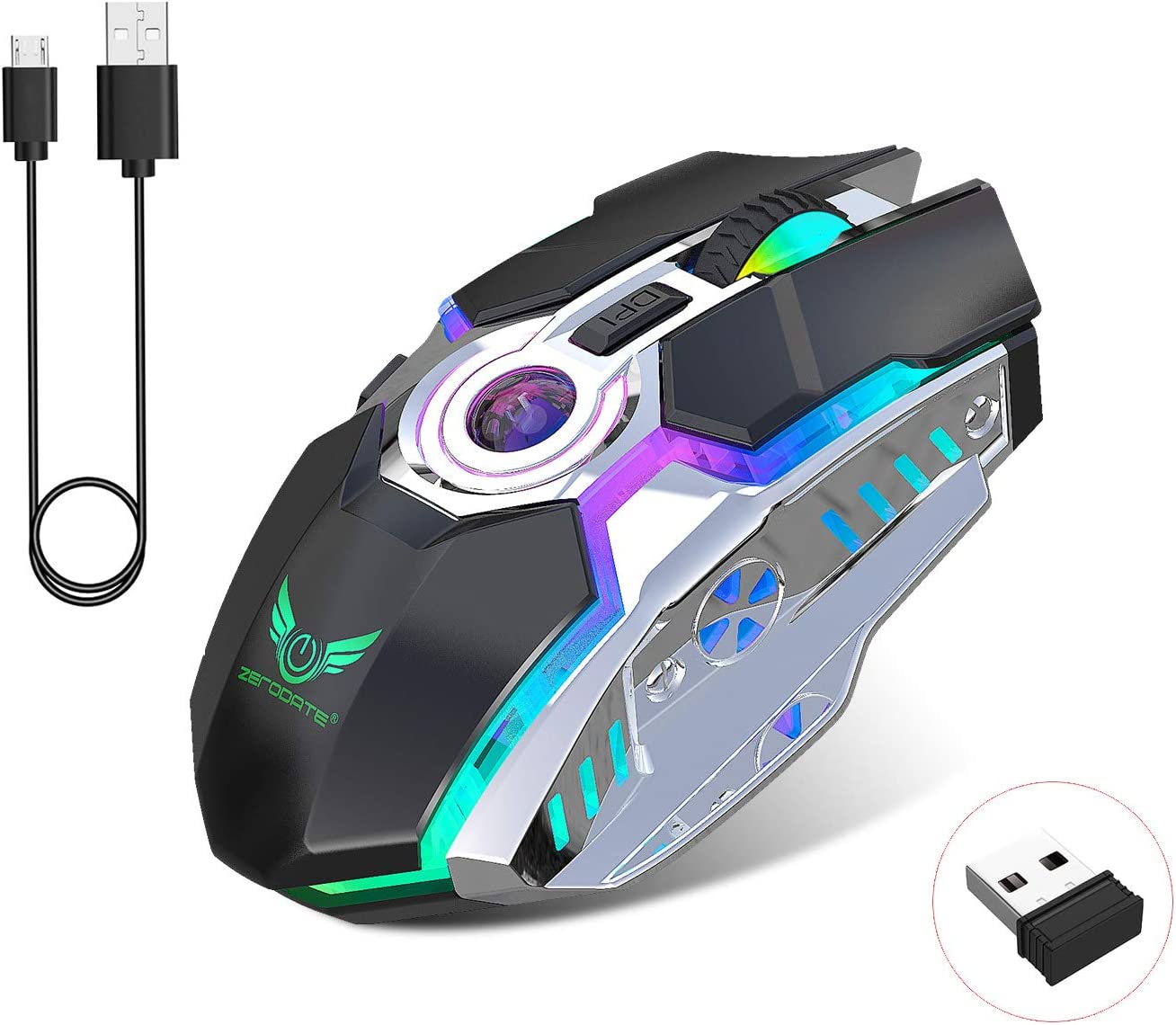 Rechargeable 2.4G Wireless Gaming Mice with USB Receiver and RGB Colors Backlit for Laptop,Computer PC and MacBook (600 Mah Lithium Battery)- Black