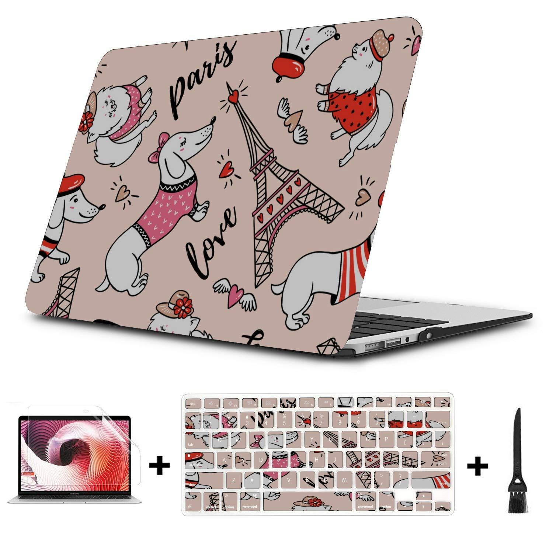 13 Inch MacBook Case Cartoon Hat Dog Friendly Pet Plastic Hard Shell Compatible Mac Air 11 Pro 13 15 Cover for MacBook Air Protection for MacBook 2016-2019 Version