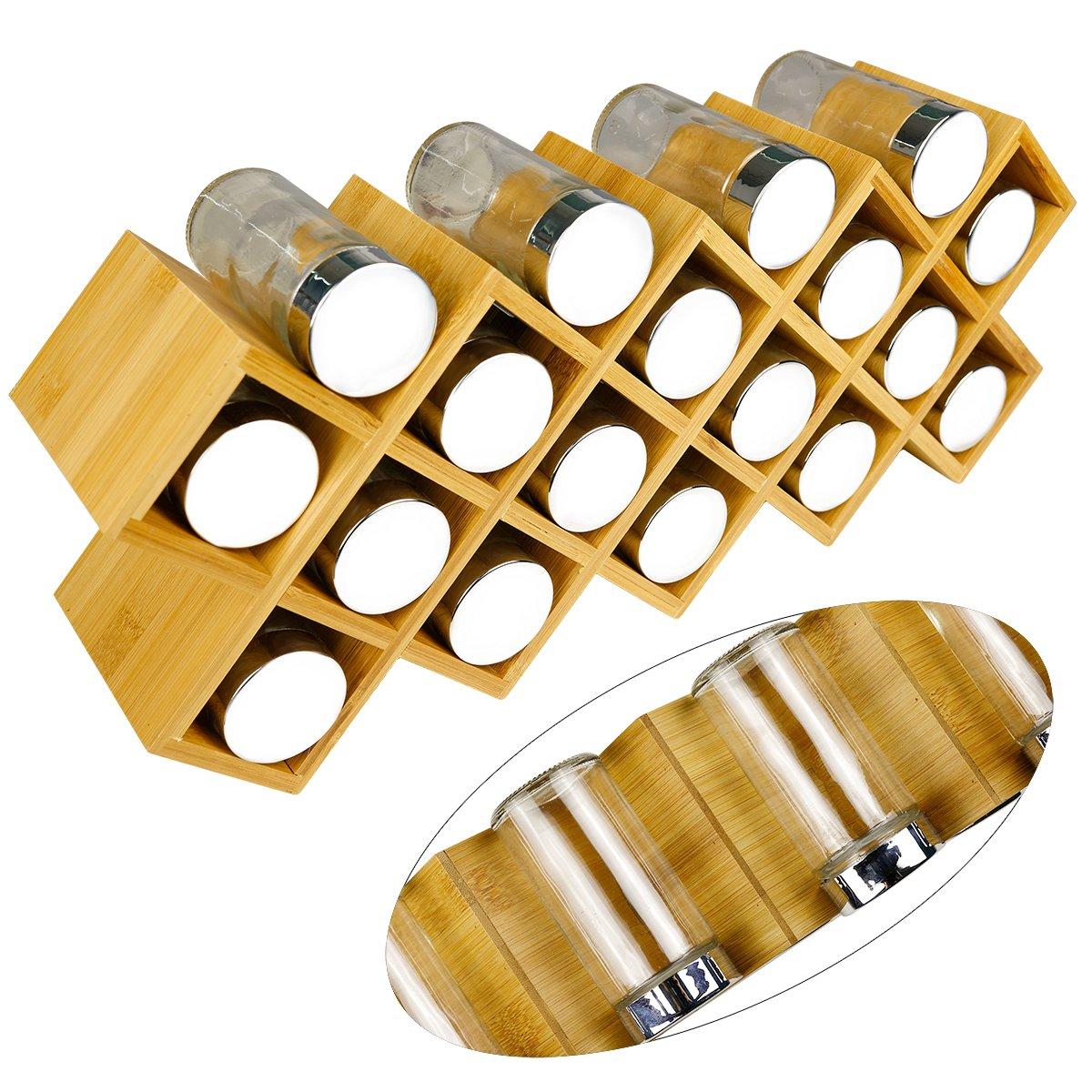 Free standing Spice organizer grande misura 43/cm x 9.5/cm x 18/cm Affilacoltelli Bamboo portaspezie con 18/barattoli di spezie ed etichette finiture cromate. Barattoli di vetro con coperchi