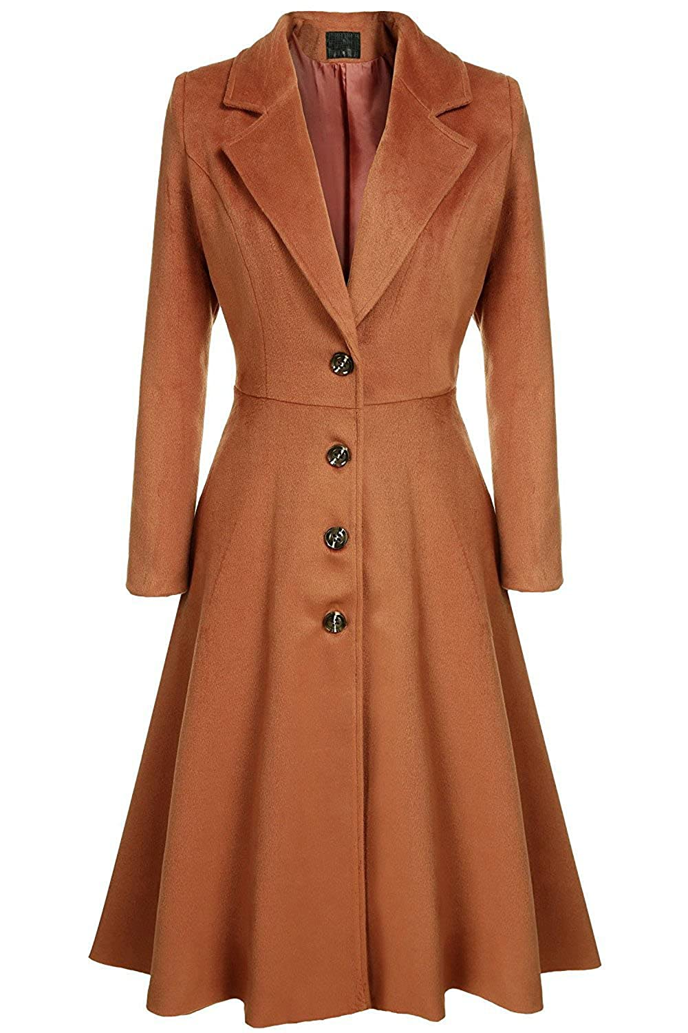 1950s Coats and Jackets History Elever Womens Casual Long Sleeve Turn-down collar A-line Flare Hem Wool Blended Dress Blazer Coats $70.99 AT vintagedancer.com