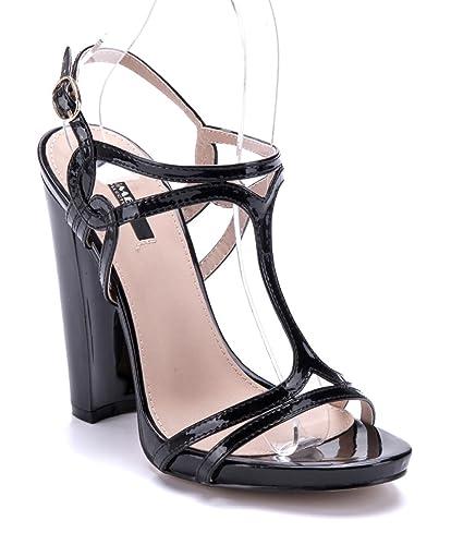 9773edbd45f59f Schuhtempel24 Damen Schuhe Sandaletten Sandalen schwarz Blockabsatz 12 cm  High Heels