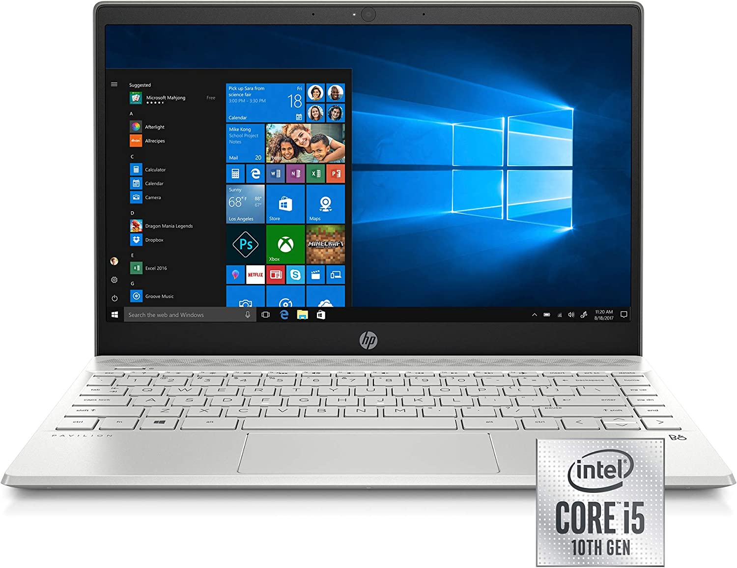 HP Pavilion 13-Inch Laptop, 10th Gen Intel Core i5-1035G1, 8 GB SDRAM Memory, 512 GB Solid-State Drive, Windows 10 Home (13-an1010nr, Mineral Silver)