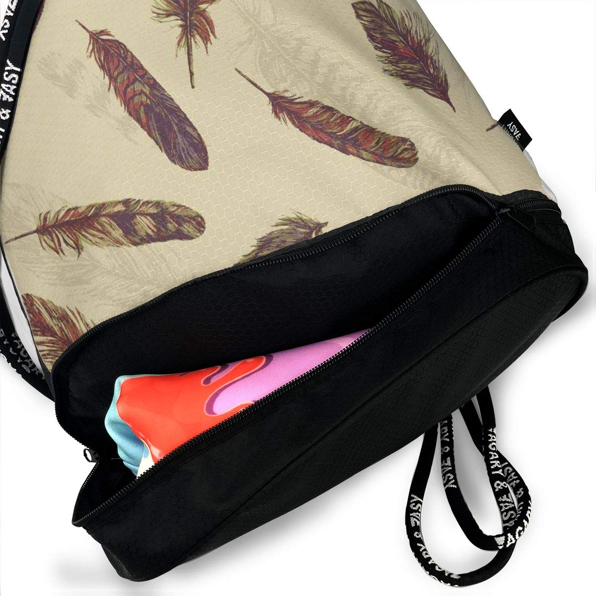 Vintage Arthouse Plume Feather Drawstring Bag Multipurpose Bundle Dance Bag Sack Pack