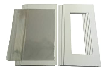 Pack of 10 White Picture 10x8 to fit 6x4 Photo Mounts with Backings and Bags