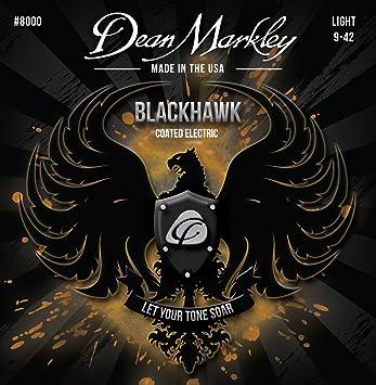 Dean Markley cuerdas para guitarra eléctrica con revestimiento de luz 8000 Blackhawk (0,09 - 0,42) 6-strings: Amazon.es: Instrumentos musicales