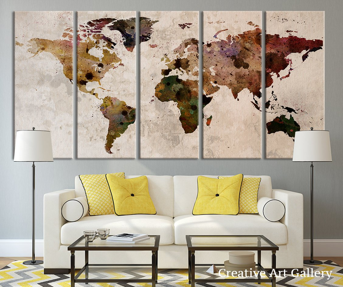 amazoncom map art large canvas print rustic world map large wall art extra large vintage world map print for home and office wall decoration 60x32