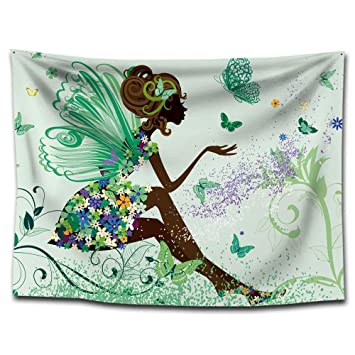 FUWUX Home Chica Mariposa Estampado de Yoga Tapiz Colgante Tapiz Toallas de Playa Pinturas para el